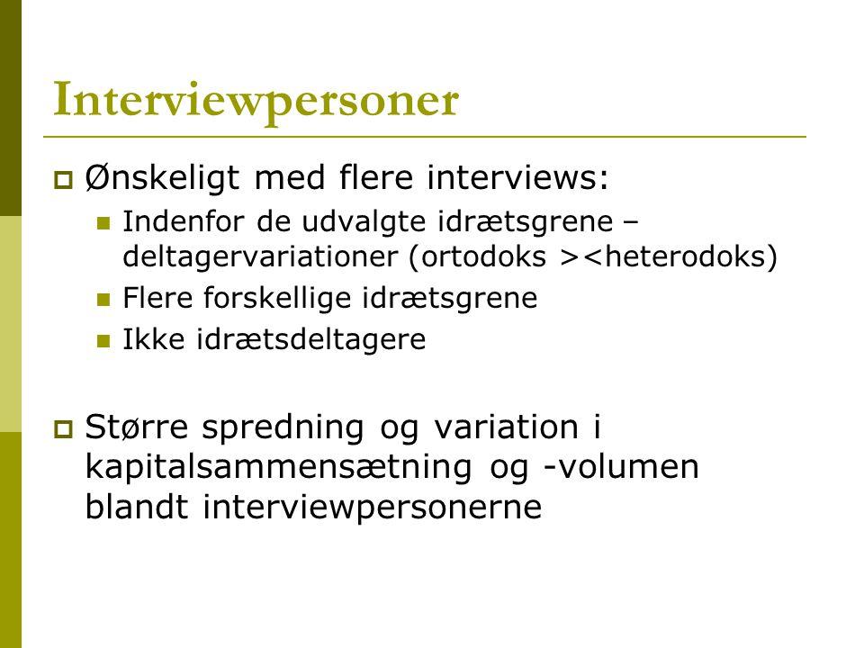 Interviewpersoner Ønskeligt med flere interviews: