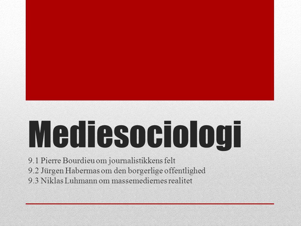 Mediesociologi 9.1 Pierre Bourdieu om journalistikkens felt