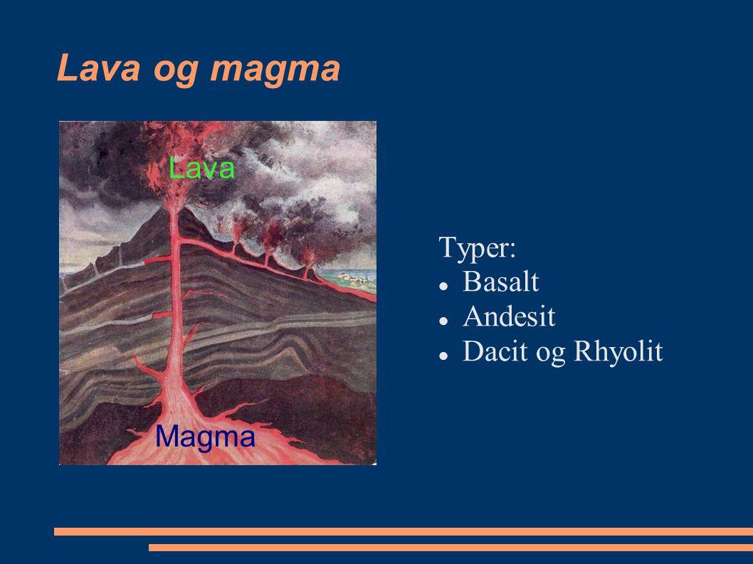 Lava og magma Lava Typer: Basalt Andesit Dacit og Rhyolit Magma
