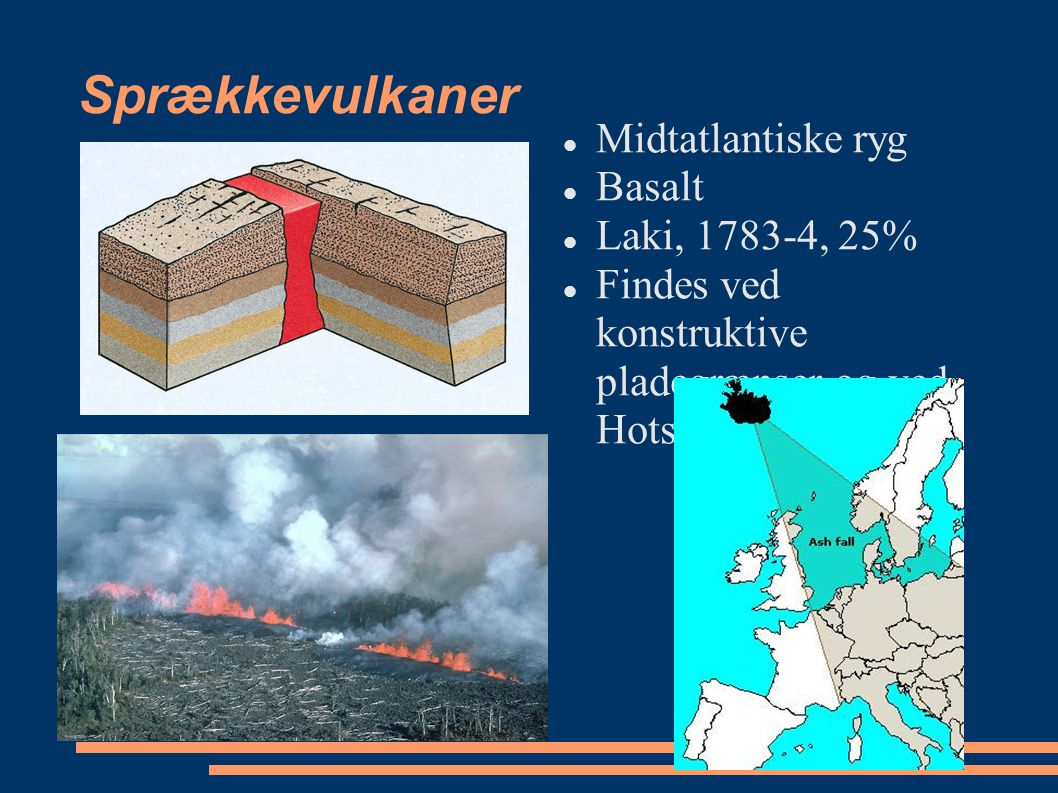 Sprækkevulkaner Midtatlantiske ryg Basalt Laki, 1783-4, 25%