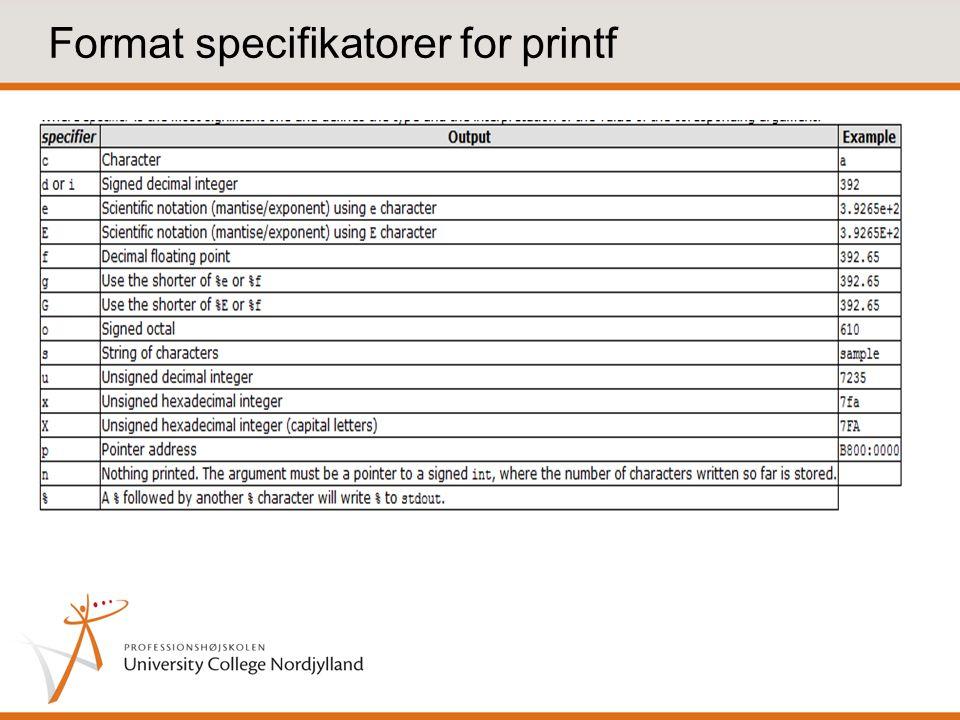 Format specifikatorer for printf
