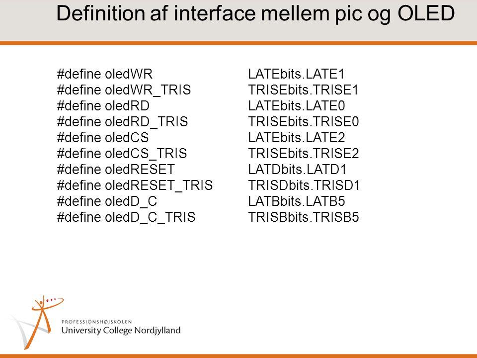 Definition af interface mellem pic og OLED
