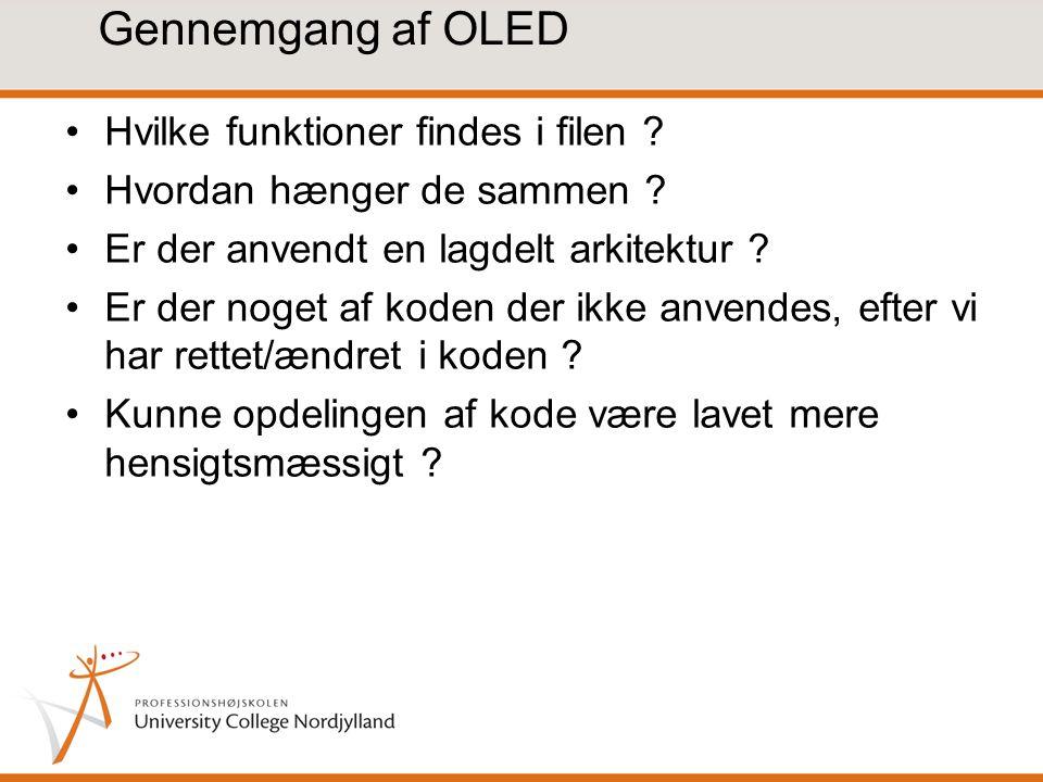 Gennemgang af OLED Hvilke funktioner findes i filen