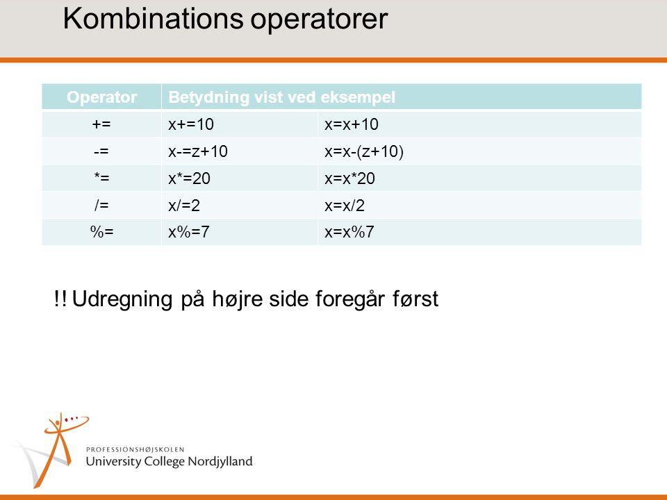 Kombinations operatorer