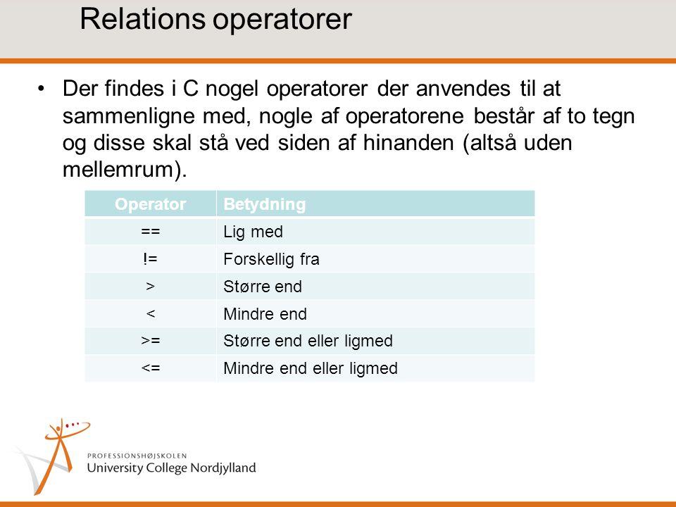 Relations operatorer