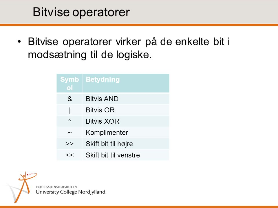 Bitvise operatorer Bitvise operatorer virker på de enkelte bit i modsætning til de logiske. Symbol.