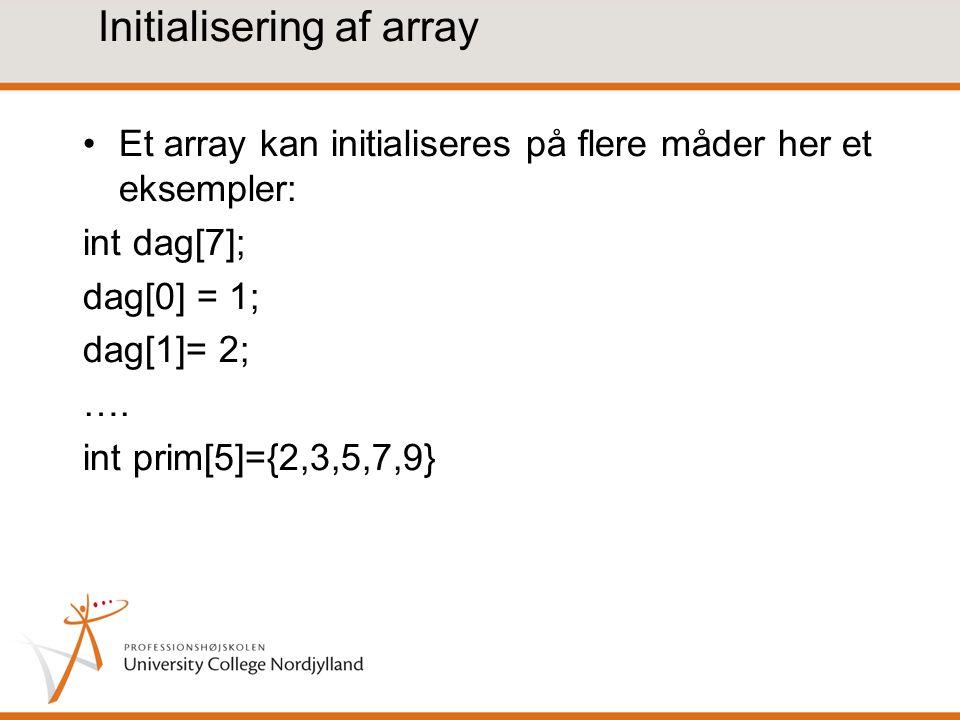 Initialisering af array