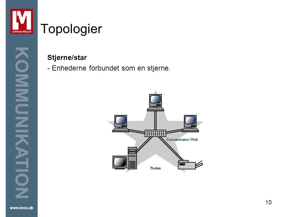 Topologier Stjerne/star - Enhederne forbundet som en stjerne.