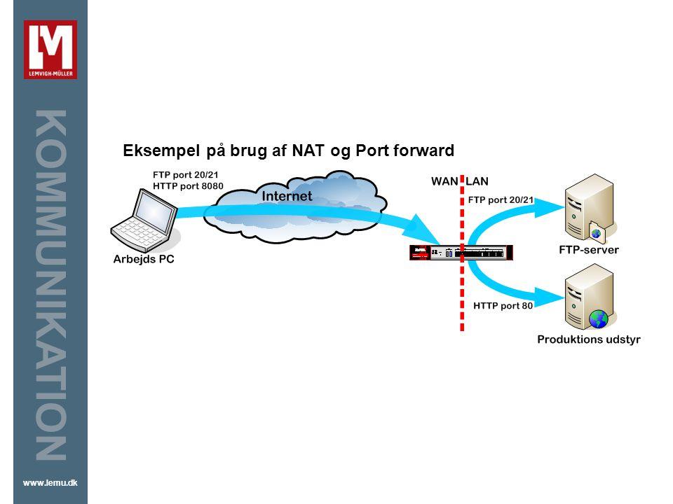 VPN Eksempel på brug af NAT og Port forward