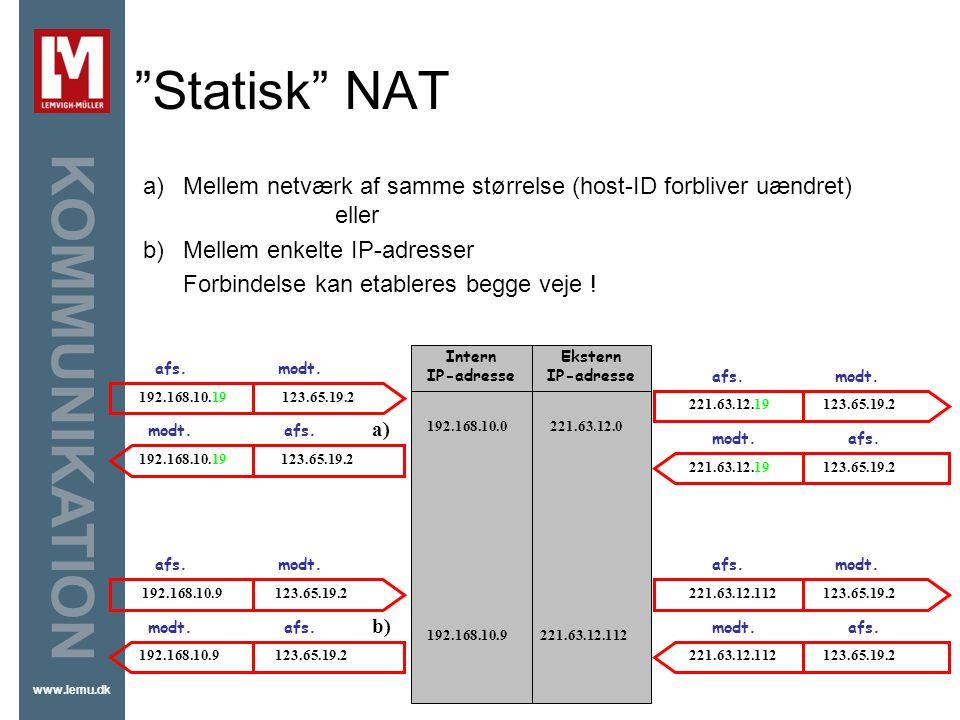 Statisk NAT Mellem netværk af samme størrelse (host-ID forbliver uændret) eller. Mellem enkelte IP-adresser.
