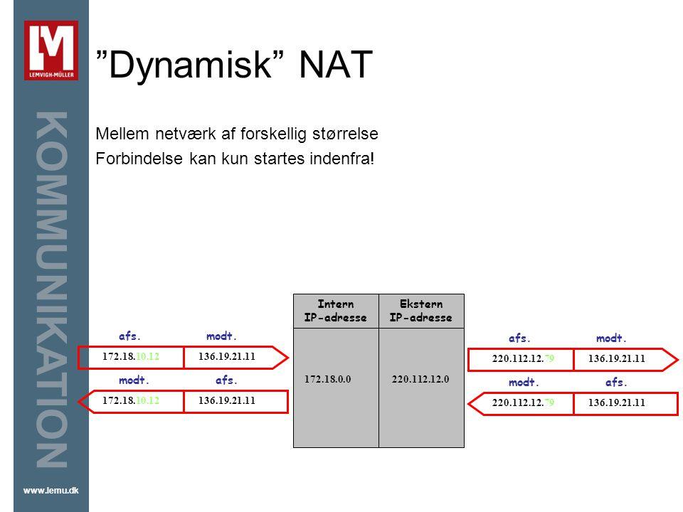 Dynamisk NAT Mellem netværk af forskellig størrelse
