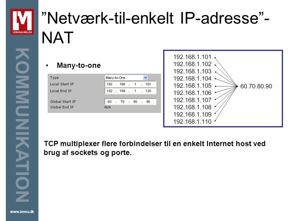 Netværk-til-enkelt IP-adresse -NAT