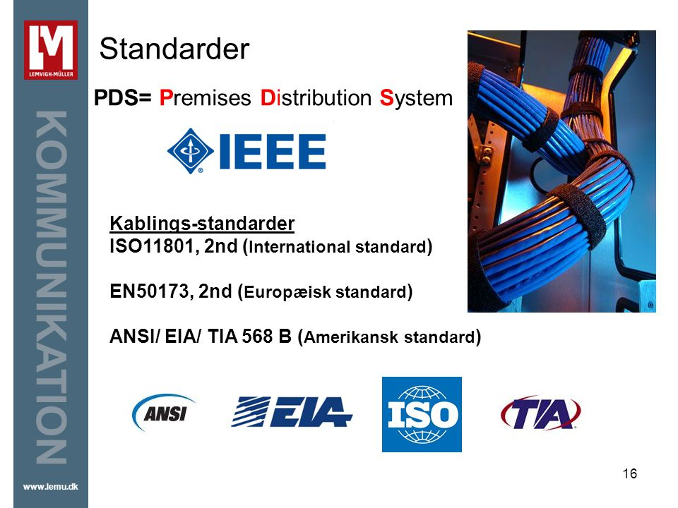Standarder PDS= Premises Distribution System Kablings-standarder