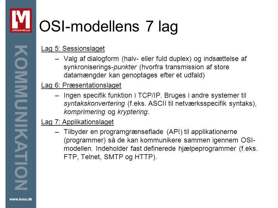 OSI-modellens 7 lag Lag 5: Sessionslaget