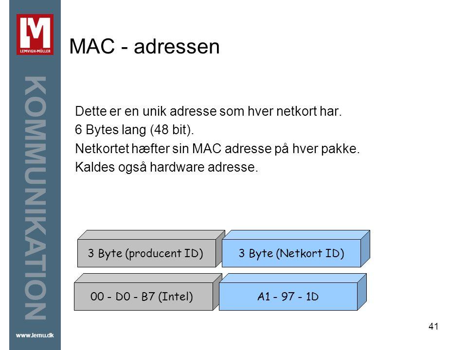 MAC - adressen Dette er en unik adresse som hver netkort har.