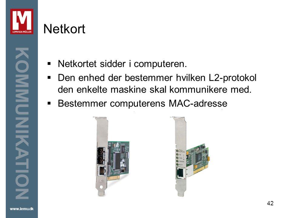 Netkort Netkortet sidder i computeren.