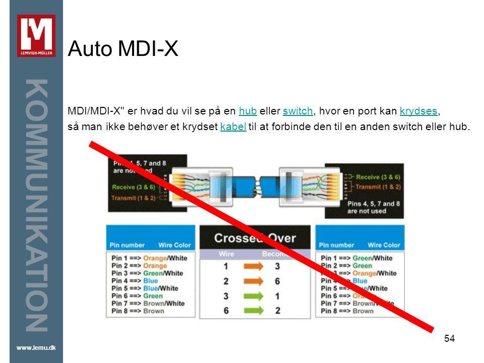Auto MDI-X MDI/MDI-X er hvad du vil se på en hub eller switch, hvor en port kan krydses,