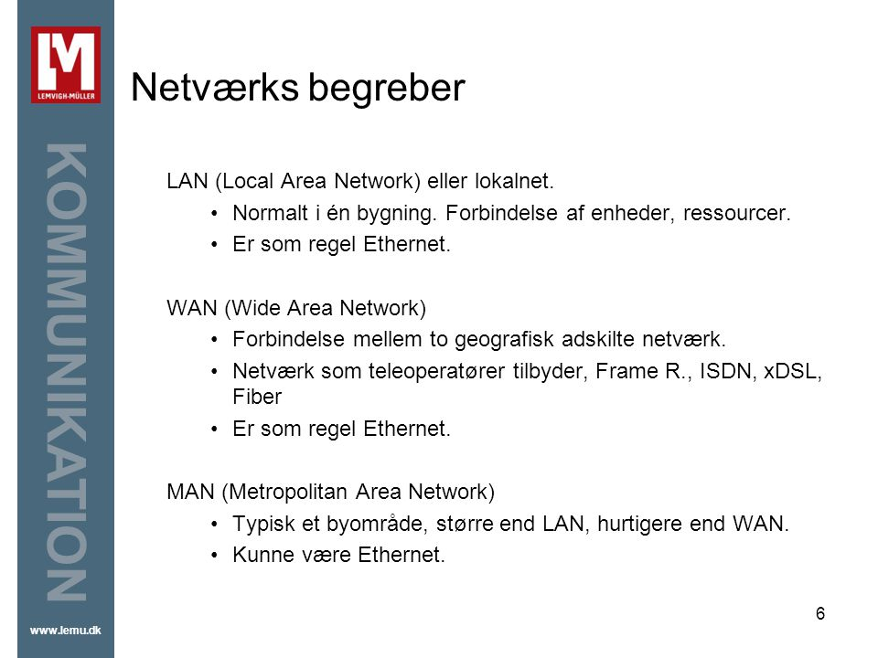 Netværks begreber LAN (Local Area Network) eller lokalnet.