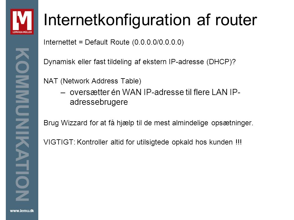 Internetkonfiguration af router