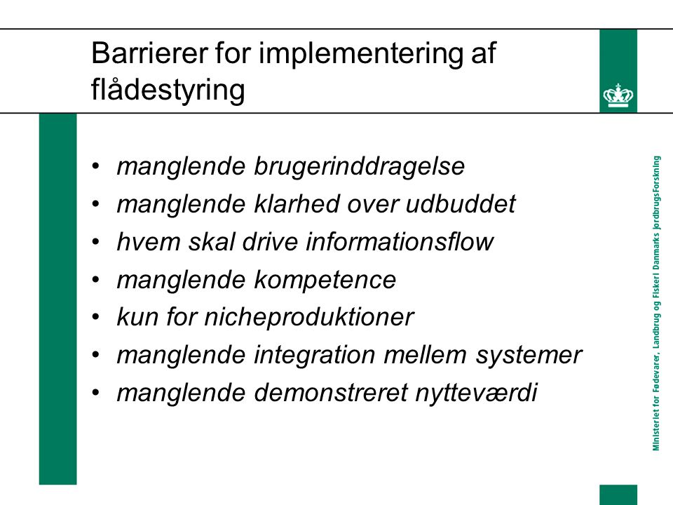 Barrierer for implementering af flådestyring