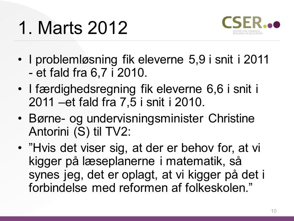 1. Marts 2012 I problemløsning fik eleverne 5,9 i snit i 2011 - et fald fra 6,7 i 2010.