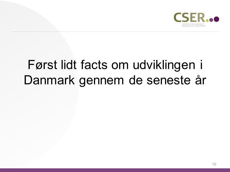 Først lidt facts om udviklingen i Danmark gennem de seneste år