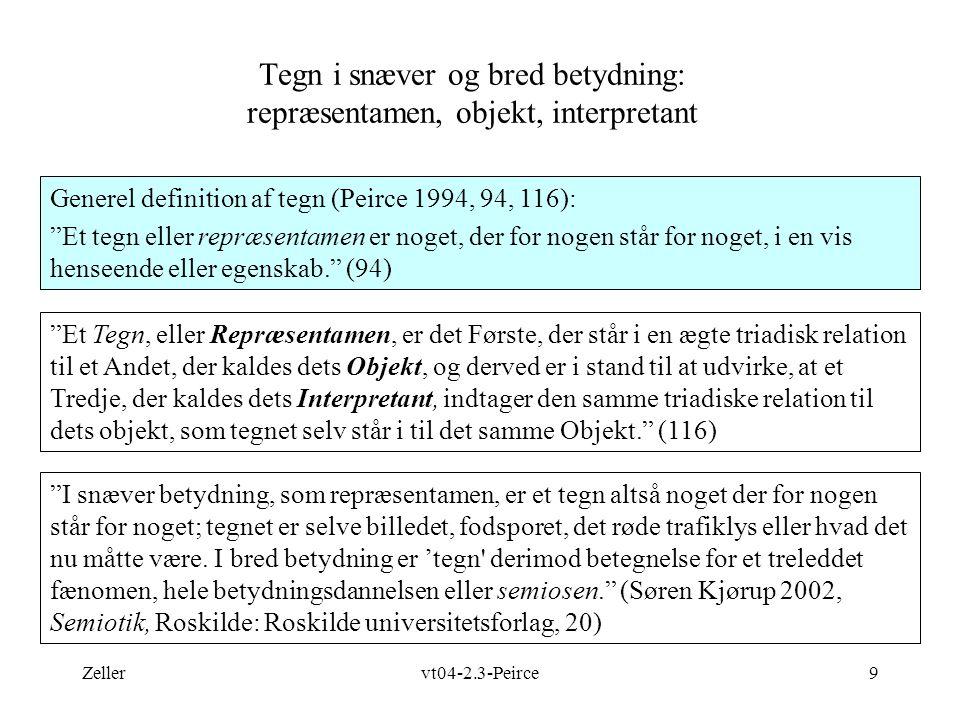 Tegn i snæver og bred betydning: repræsentamen, objekt, interpretant