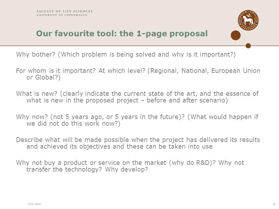 Our favourite tool: the 1-page proposal