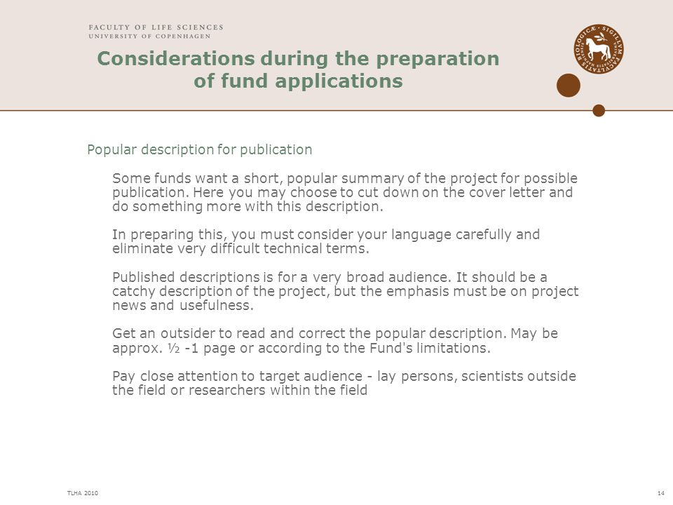 Considerations during the preparation of fund applications