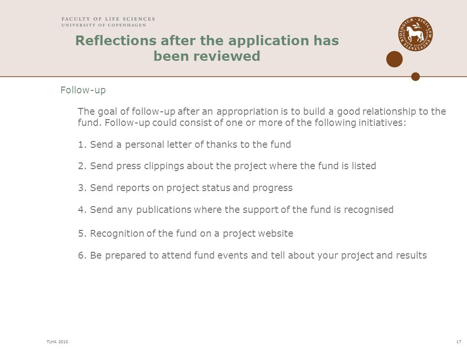 Reflections after the application has been reviewed