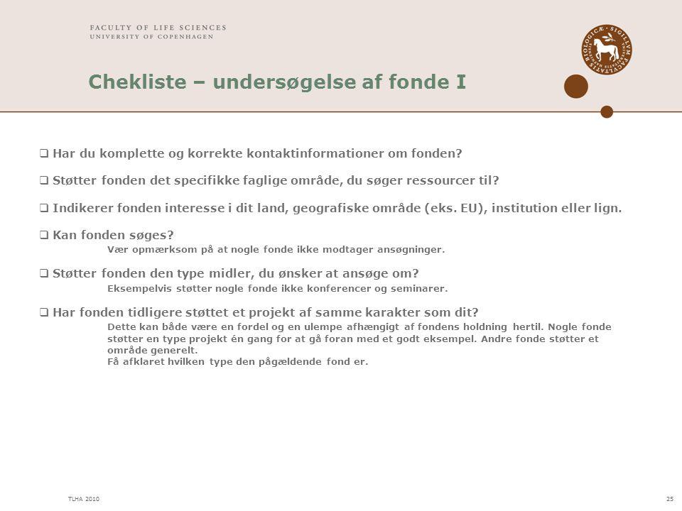 Chekliste – undersøgelse af fonde I