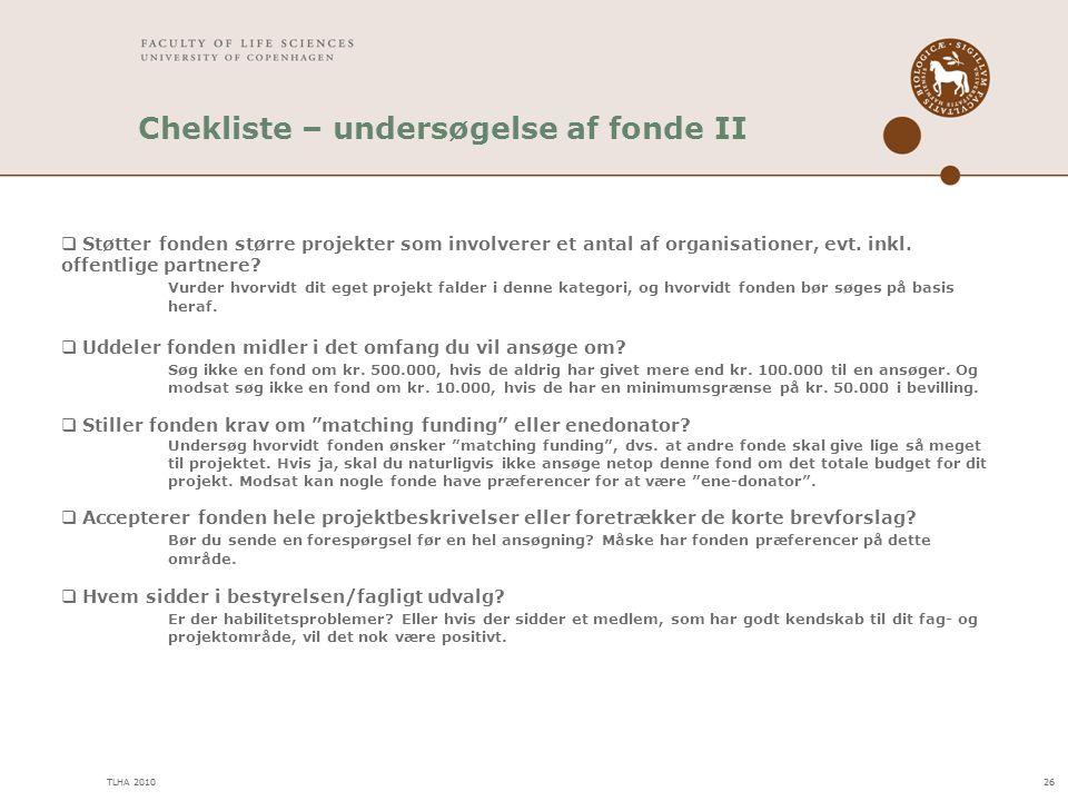 Chekliste – undersøgelse af fonde II