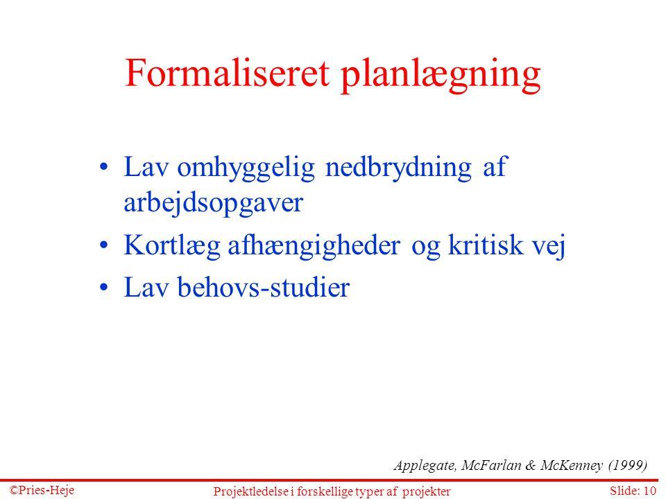 Formaliseret planlægning