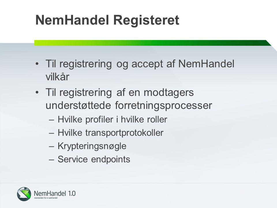 NemHandel Registeret Til registrering og accept af NemHandel vilkår