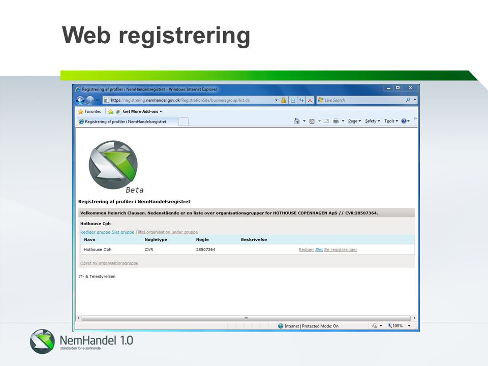 Web registrering