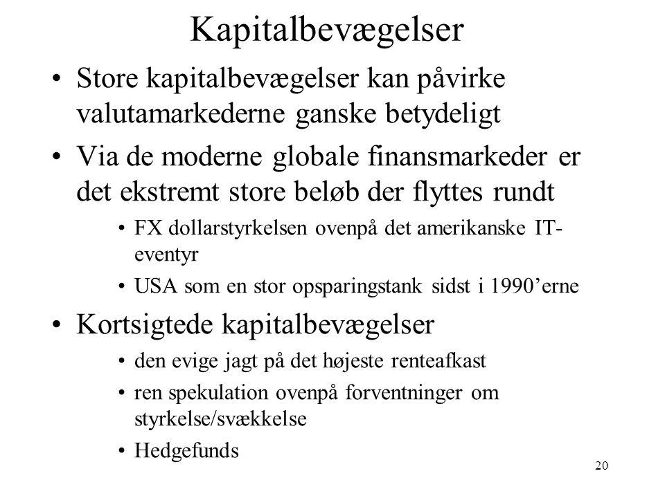 Kapitalbevægelser Store kapitalbevægelser kan påvirke valutamarkederne ganske betydeligt.