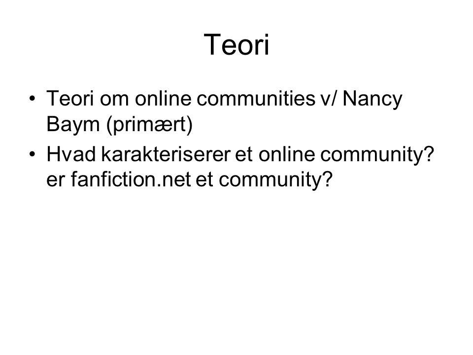 Teori Teori om online communities v/ Nancy Baym (primært)