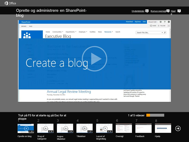 Oprette og administrere en SharePoint-blog