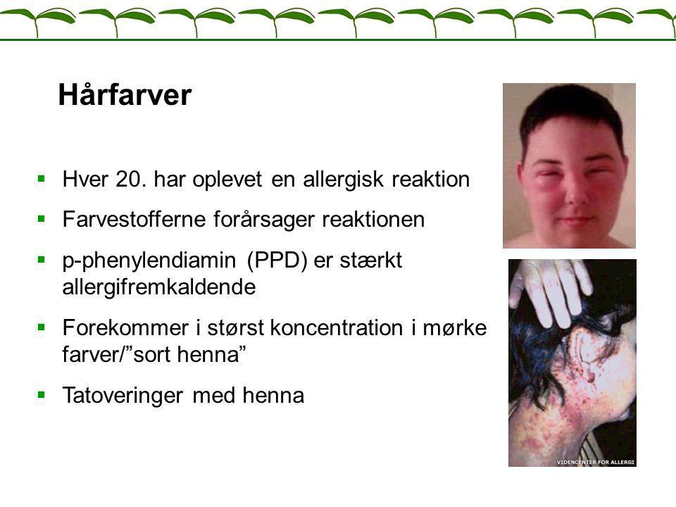Hårfarver Hver 20. har oplevet en allergisk reaktion