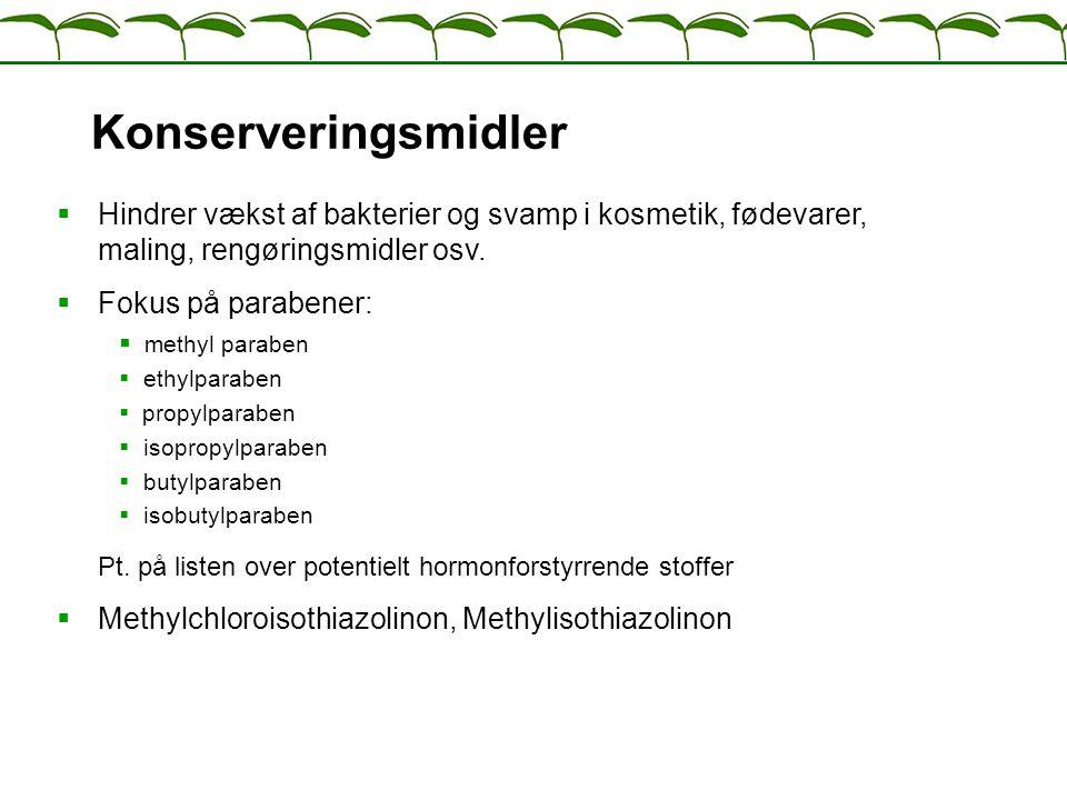 Konserveringsmidler Hindrer vækst af bakterier og svamp i kosmetik, fødevarer, maling, rengøringsmidler osv.