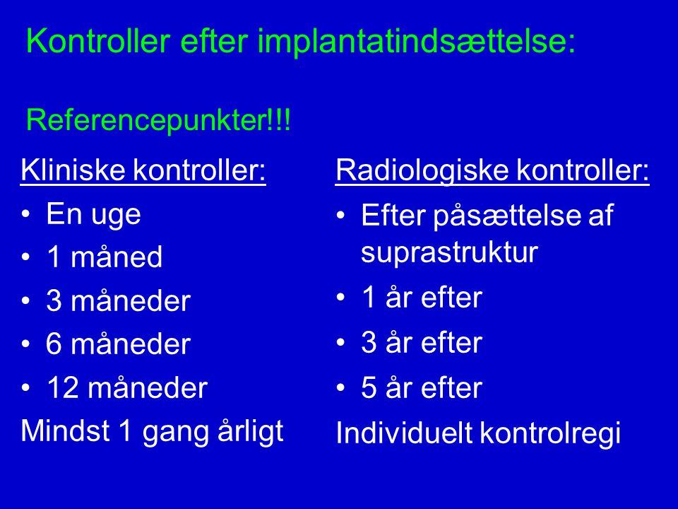 Kontroller efter implantatindsættelse: Referencepunkter!!!