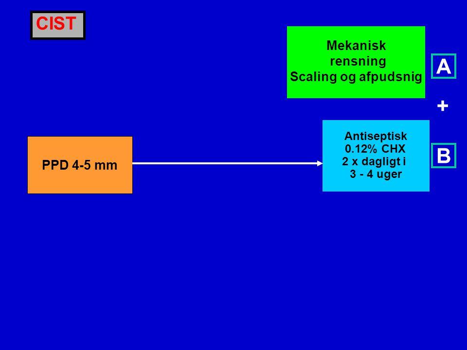 A + B CIST Mekanisk rensning Scaling og afpudsnig PPD 4-5 mm