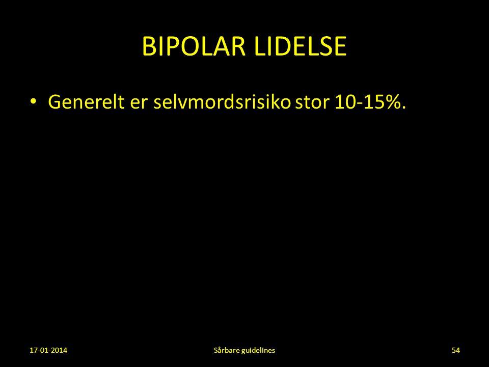 BIPOLAR LIDELSE Generelt er selvmordsrisiko stor 10-15%. 17-01-2014