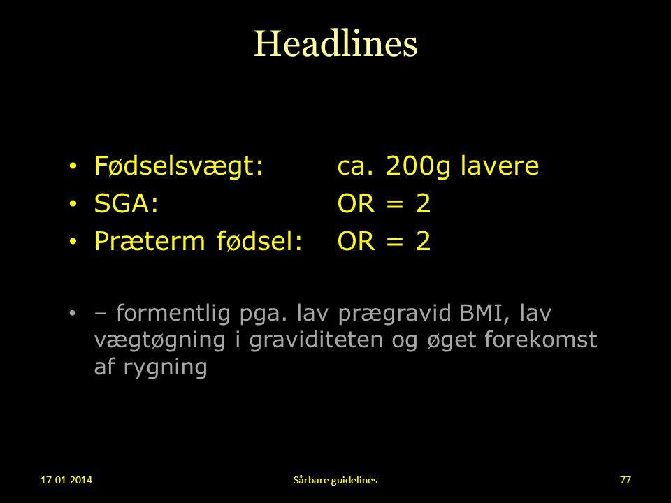 Headlines Fødselsvægt: ca. 200g lavere SGA: OR = 2