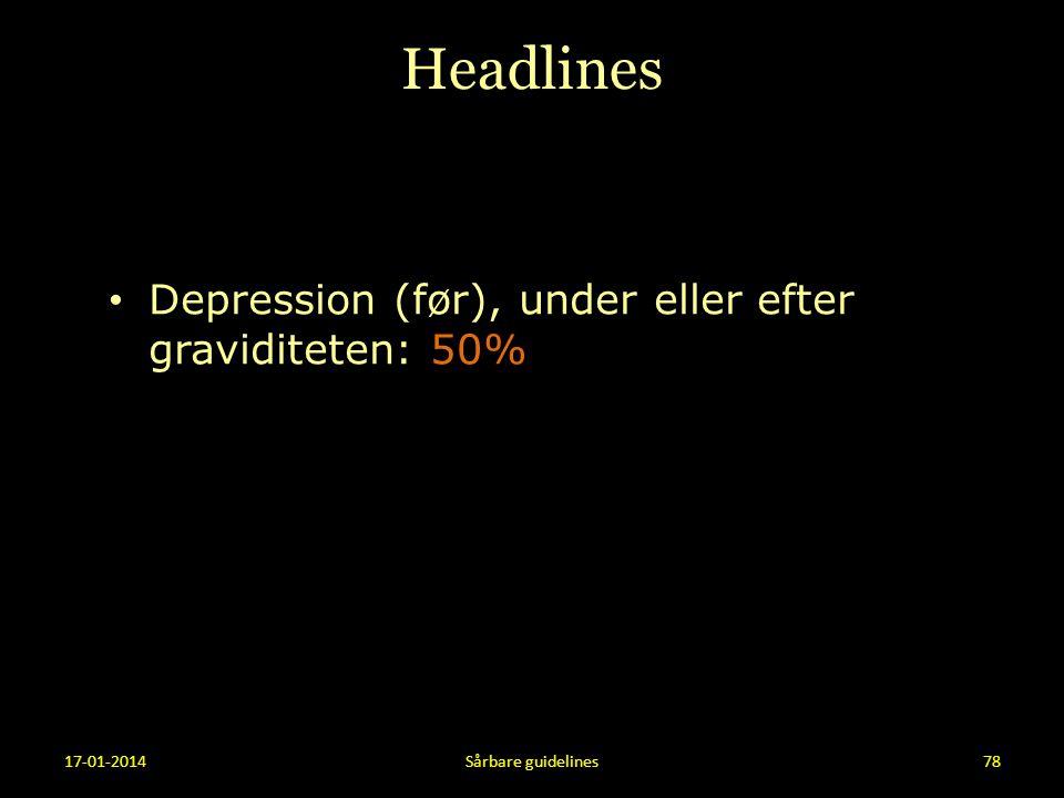 Headlines Depression (før), under eller efter graviditeten: 50%