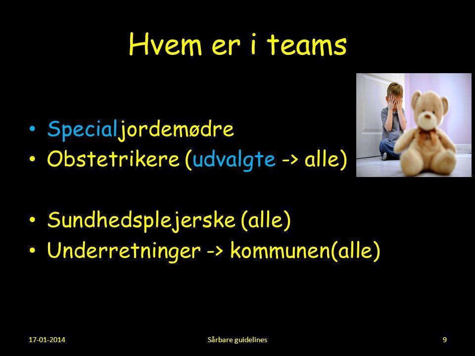 Hvem er i teams Specialjordemødre Obstetrikere (udvalgte -> alle)