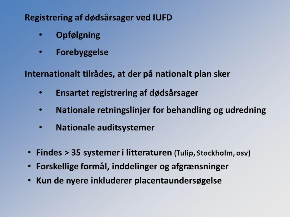 Registrering af dødsårsager ved IUFD Opfølgning Forebyggelse