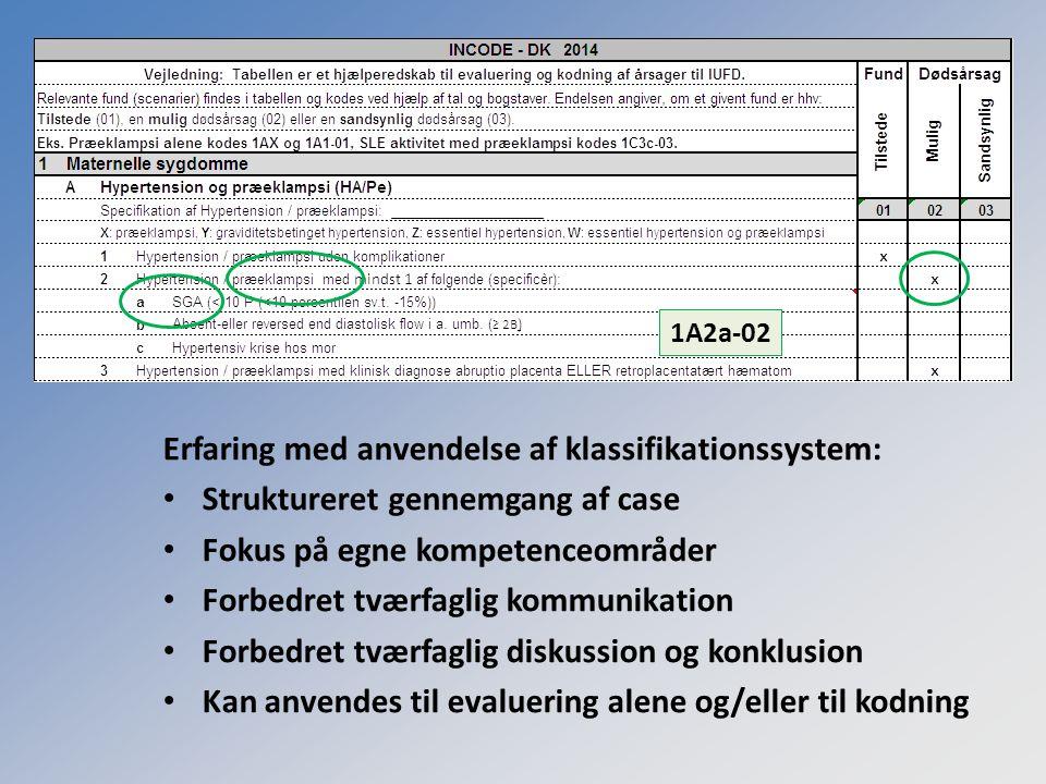 Erfaring med anvendelse af klassifikationssystem: