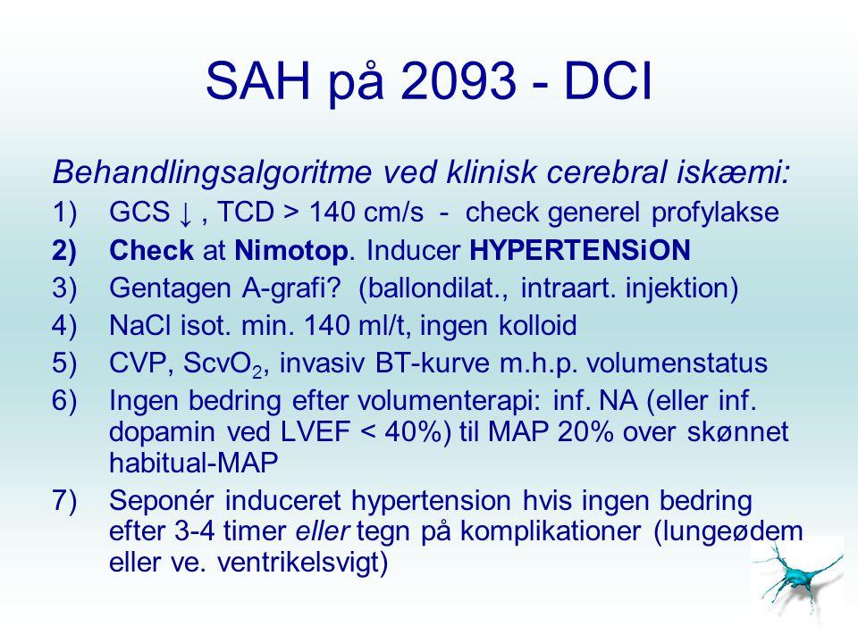 SAH på 2093 - DCI Behandlingsalgoritme ved klinisk cerebral iskæmi: