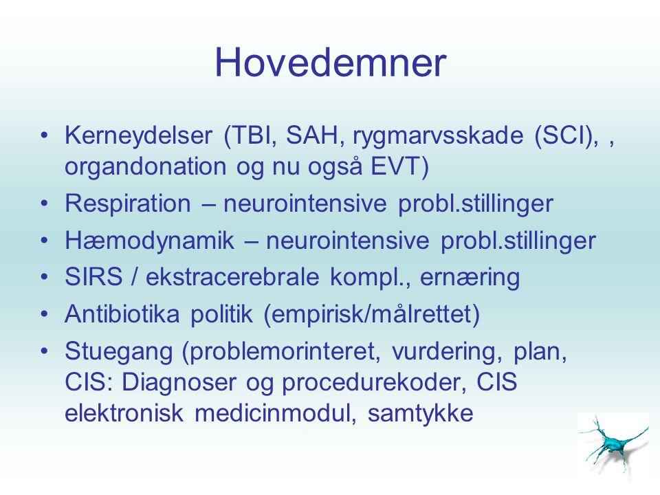 Hovedemner Kerneydelser (TBI, SAH, rygmarvsskade (SCI), , organdonation og nu også EVT) Respiration – neurointensive probl.stillinger.